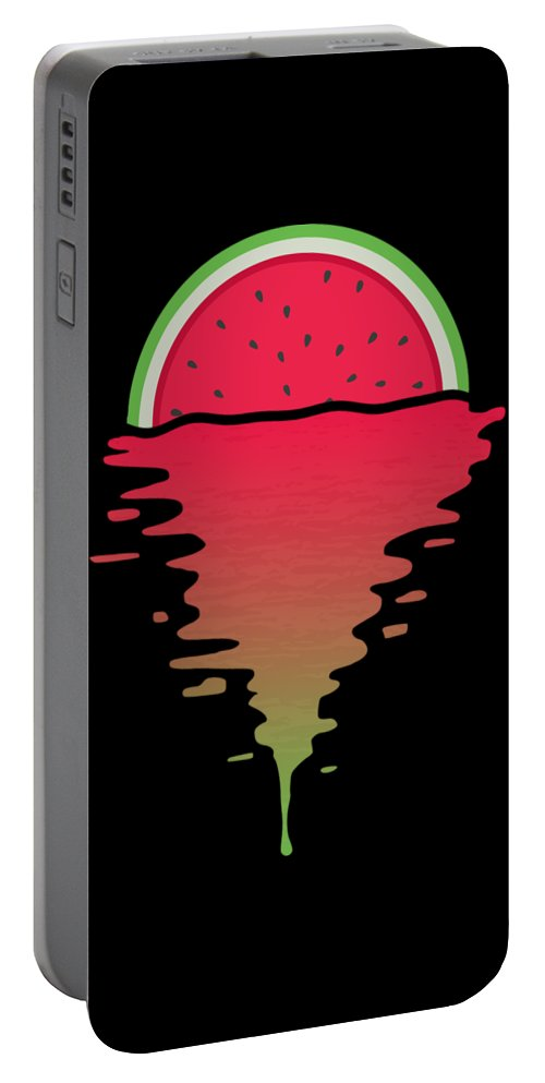 Watermelon Portable Battery Charger featuring the digital art Watermelon Sunset by Filip Schpindel