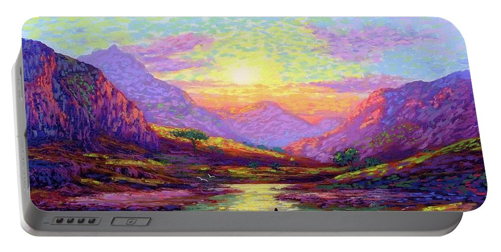 Meditation Portable Battery Charger featuring the painting Waves Of Illumination by Jane Small