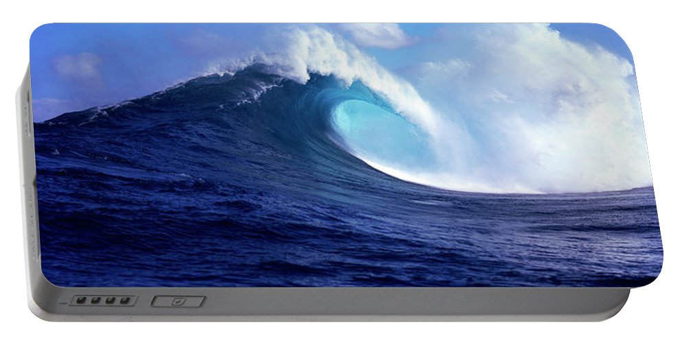 Photography Portable Battery Charger featuring the photograph Waves Splashing In The Sea, Maui by Panoramic Images