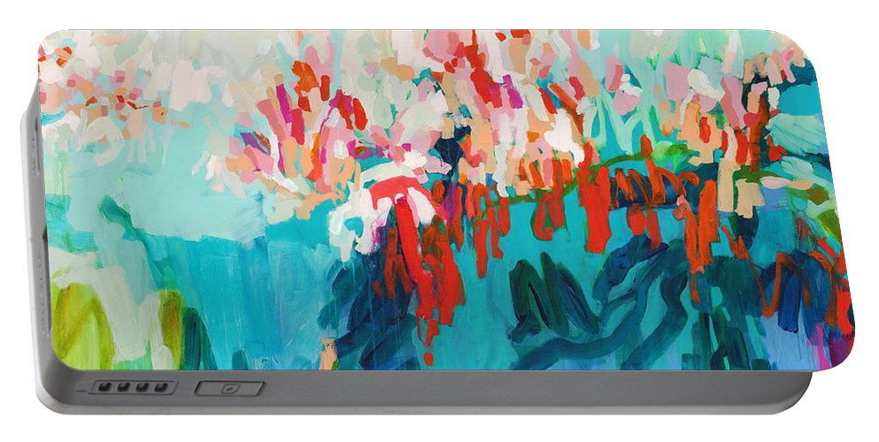 Abstract Portable Battery Charger featuring the painting What Are Those Birds Saying? by Claire Desjardins