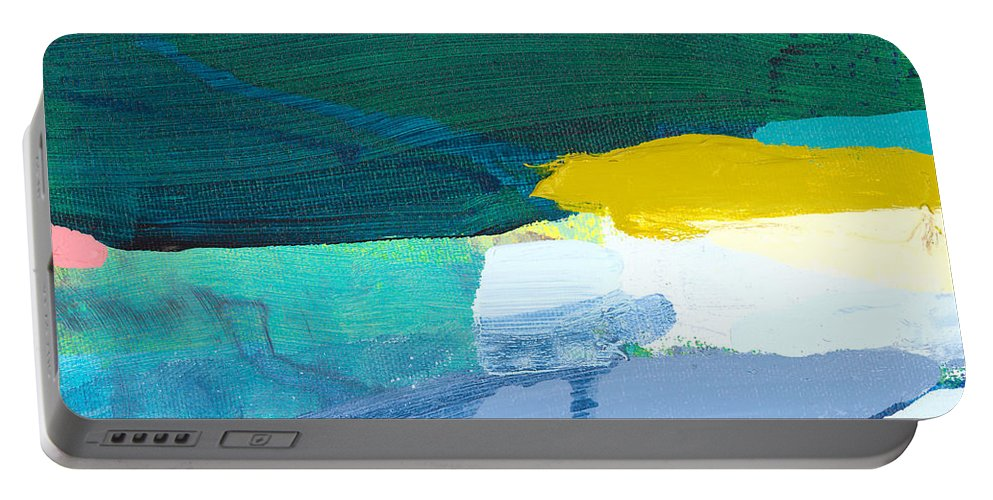 Abstract Portable Battery Charger featuring the painting When Winter Melts Away by Claire Desjardins