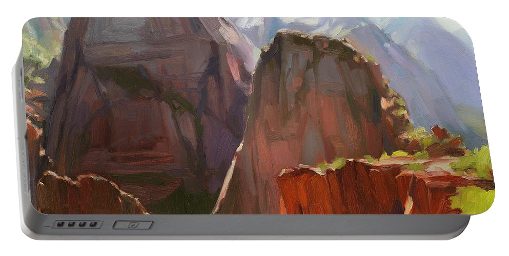 Zion Portable Battery Charger featuring the painting Where Angels Land by Steve Henderson