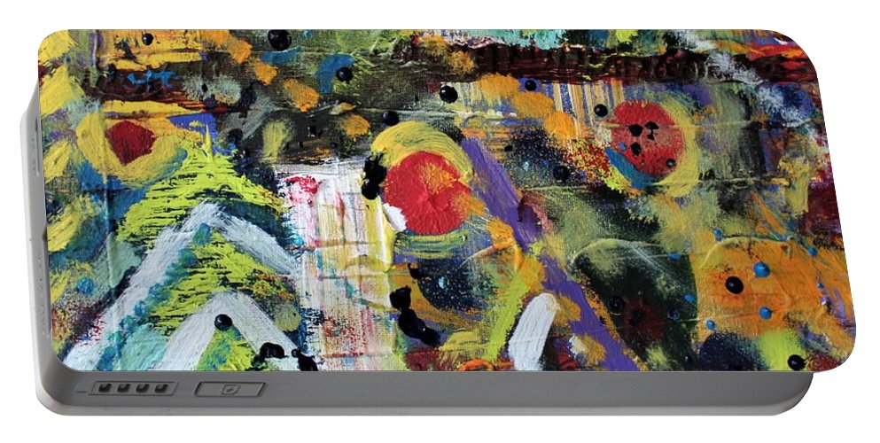Nature Portable Battery Charger featuring the painting Who What Where by Pam Roth O'Mara