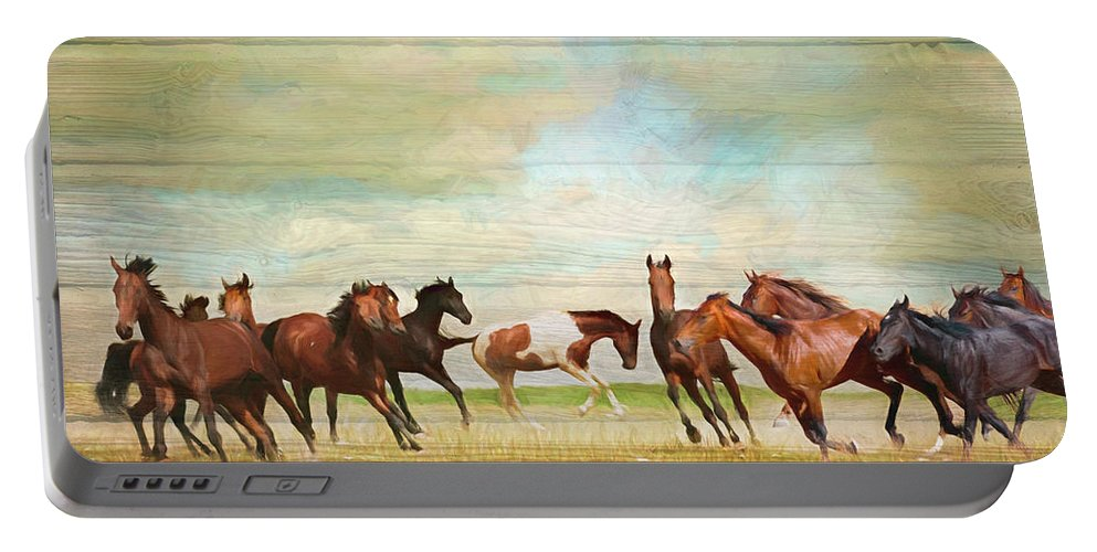 Fall Portable Battery Charger featuring the digital art Wild Horses Painting In Wood Textures by Debra and Dave Vanderlaan