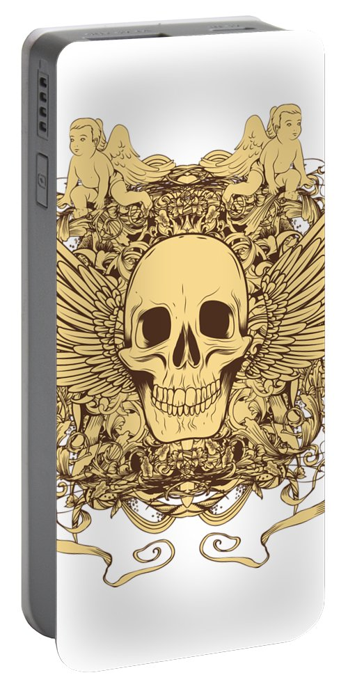 Halloween Portable Battery Charger featuring the digital art Winged Skull by Passion Loft