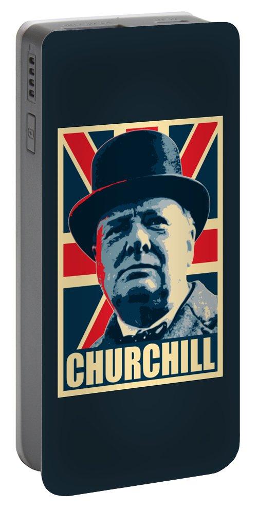 Winston Churchill Portable Battery Charger featuring the digital art Winston Churchill Propaganda by Filip Hellman