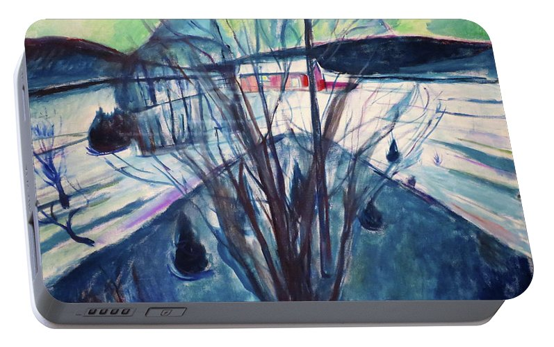 Winter Night Portable Battery Charger featuring the painting Winter Night, Ekely - Digital Remastered Edition by Edvard Munch