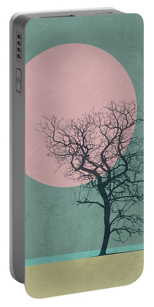Tree Portable Battery Charger featuring the mixed media Winter Tree by Naxart Studio