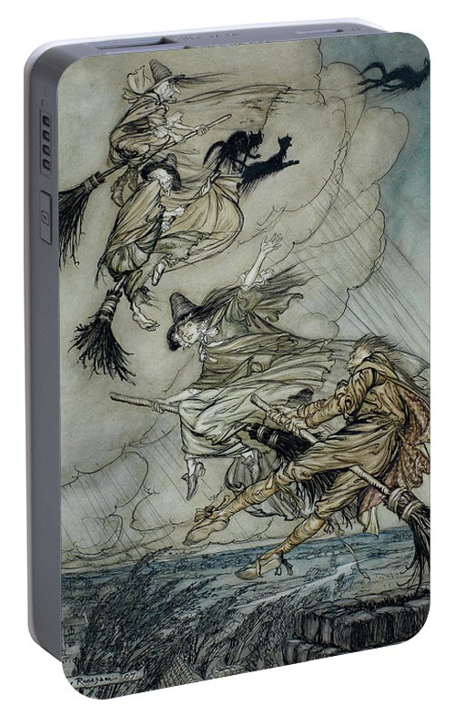 Arthur Rackham Portable Battery Charger featuring the painting Witches, 1907 by Arthur Rackham
