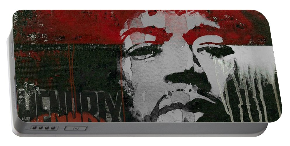 Jimi Hendrix Portable Battery Charger featuring the mixed media With A Circus Mind That's Running Wild - Jimi Hendrex by Paul Lovering