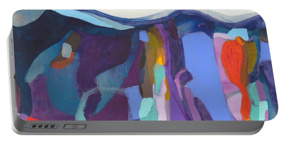 Abstract Portable Battery Charger featuring the painting With Grace by Claire Desjardins
