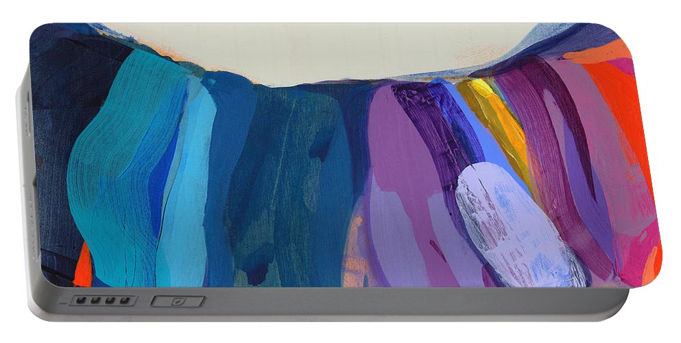 Abstract Portable Battery Charger featuring the painting With Joy by Claire Desjardins