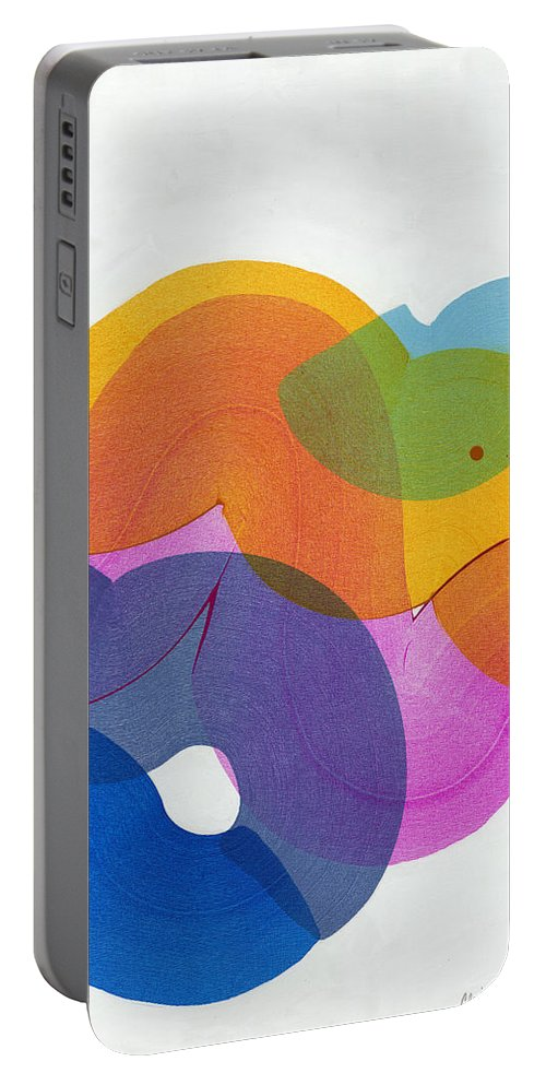 Abstract Portable Battery Charger featuring the painting With Love by Claire Desjardins