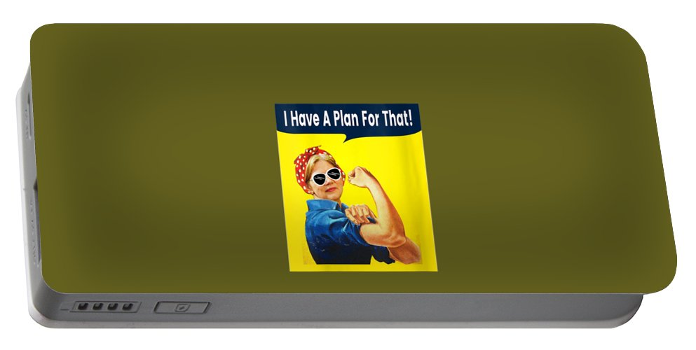 women's Shops Portable Battery Charger featuring the digital art Womens I Have A Plan For That Elizabeth Warren For President 2020 V-neck T-shirt by Do David