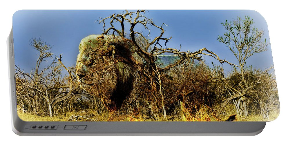 Lion Portable Battery Charger featuring the photograph Wrapped Lion by Kay Brewer