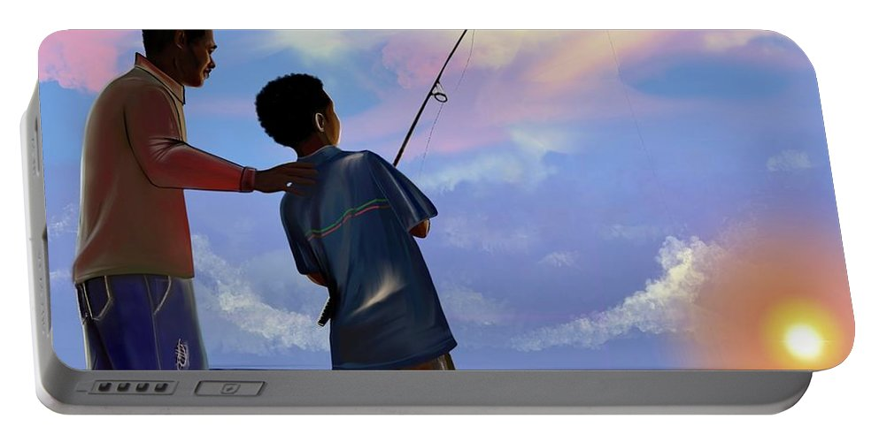 Fishing Portable Battery Charger featuring the digital art You make Him proud by Artist RiA
