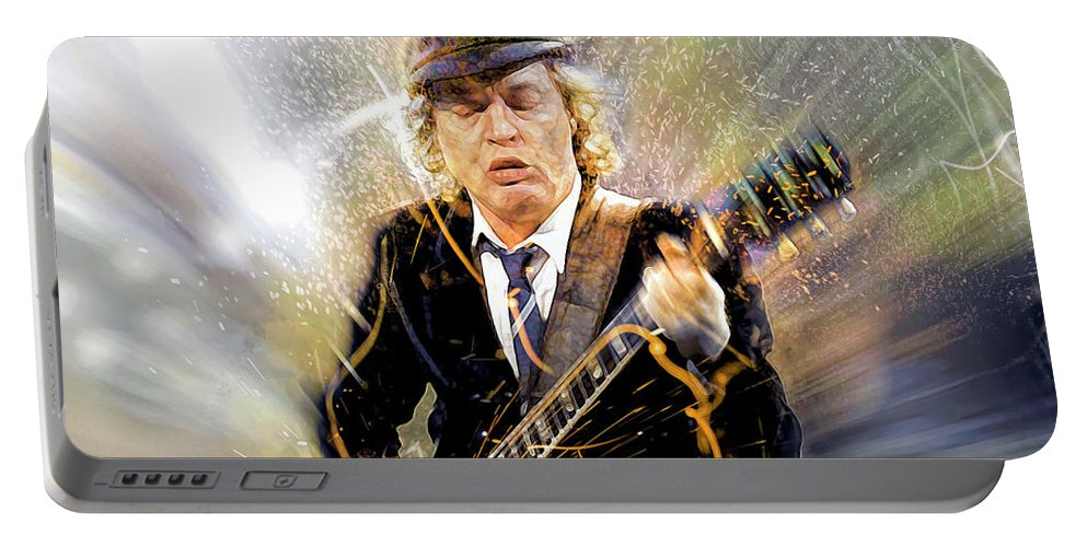 Angus Young Portable Battery Charger featuring the digital art You've been thunderstruck by Mal Bray