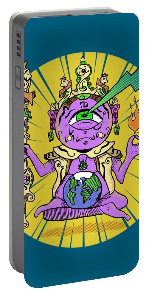 Buddhist Portable Battery Charger featuring the digital art Zen by Sotuland Art