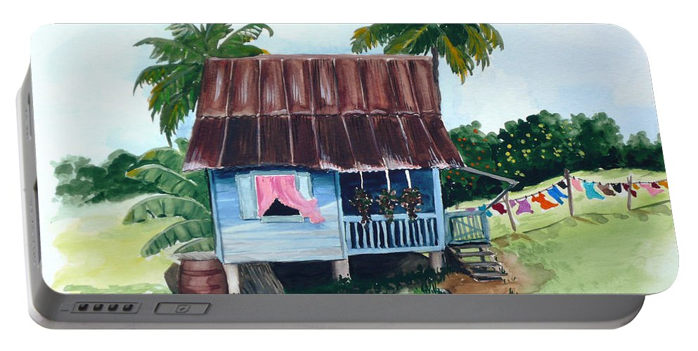 Landscape Painting Caribbean House Painting Blue House Painting Trinidad And Tobago Painting Greeting Card Painting Island Painting Tropical House Painting Blue Painting Portable Battery Charger featuring the painting Little Blue House by Karin Dawn Kelshall- Best