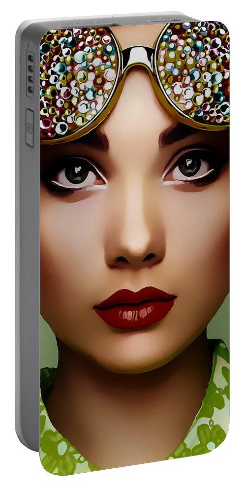 Model Portable Battery Charger featuring the mixed media Bri by Marvin Blaine