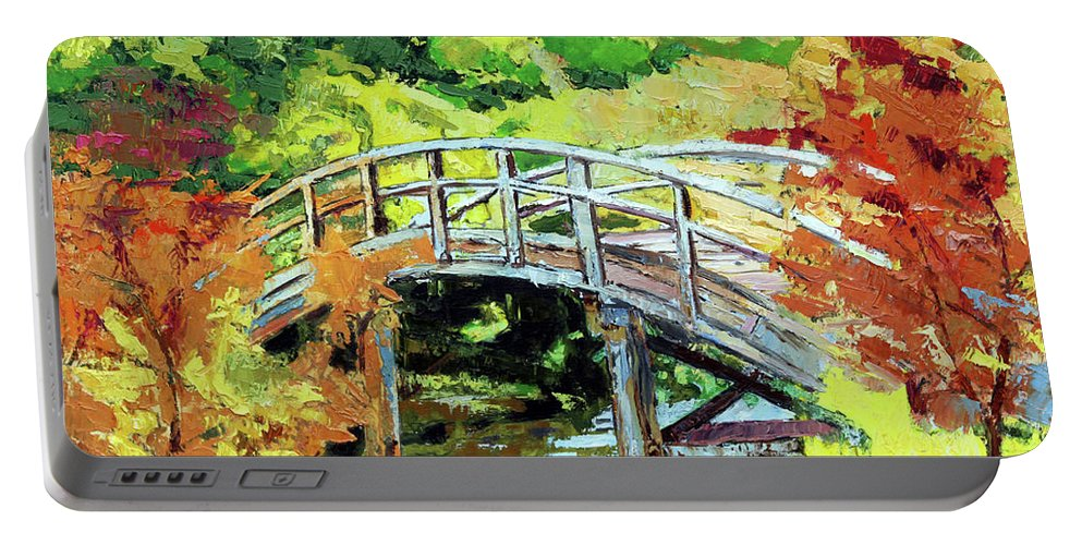 Bridge Portable Battery Charger featuring the painting Drum Bridge in Autumn by John Lautermilch