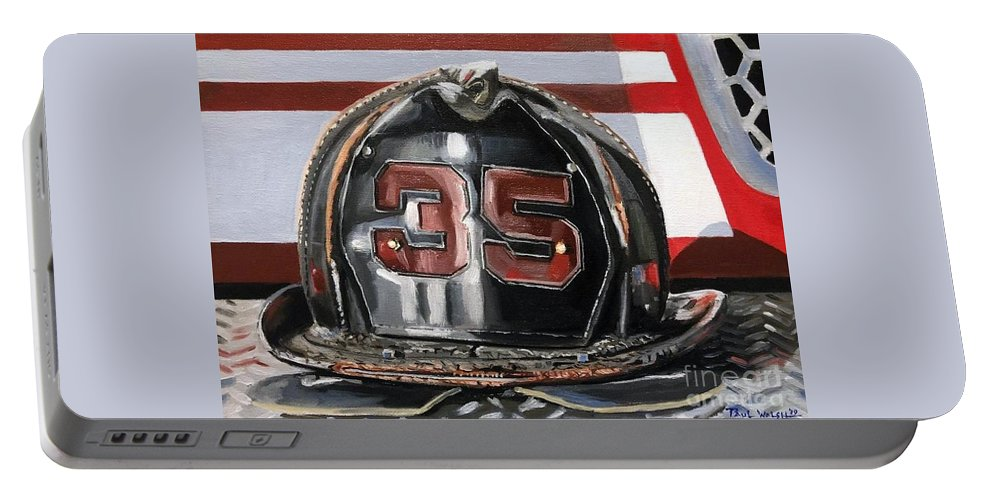 Fire Helmet Portable Battery Charger featuring the painting Fire Helmet by Paul Walsh