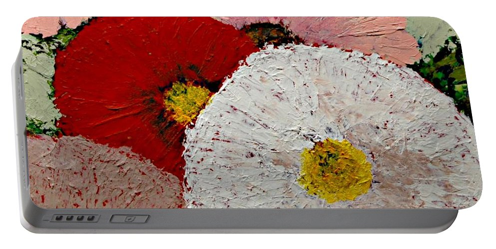 Landscape Portable Battery Charger featuring the painting From the Garden by Allan P Friedlander