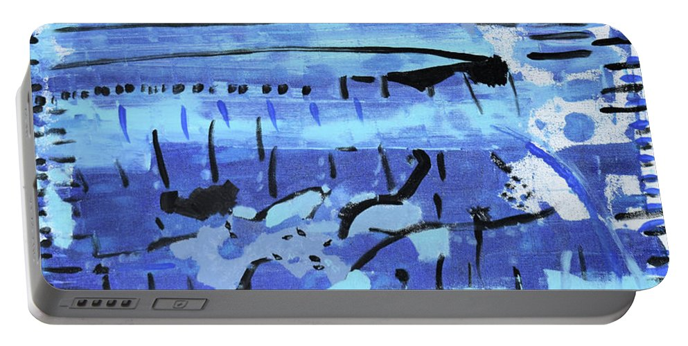 Colorado Portable Battery Charger featuring the painting Something Blue by Pam Roth O'Mara