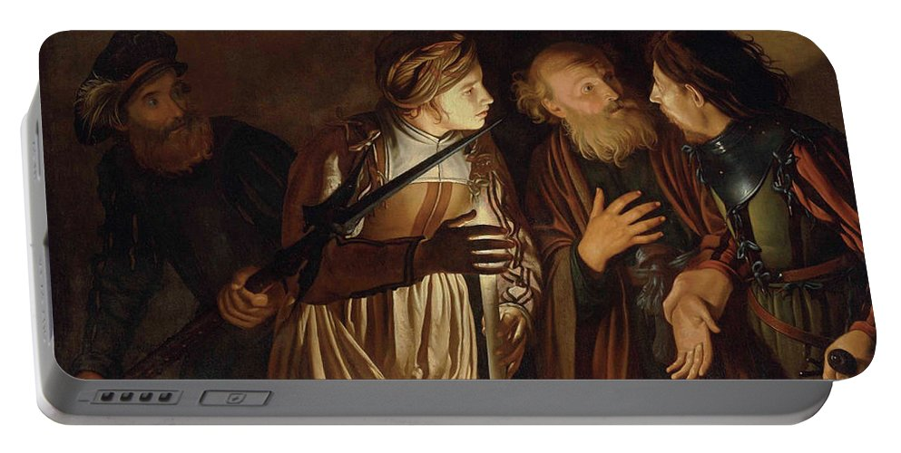 Coster Portable Battery Charger featuring the painting The Denial of Saint Peter by Adam de Coster