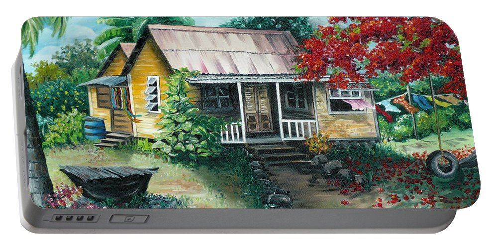 Landscape Painting Caribbean Painting Tropical Painting Island House Painting Poinciana Flamboyant Tree Painting Trinidad And Tobago Painting Portable Battery Charger featuring the painting Trinidad Life by Karin Dawn Kelshall- Best