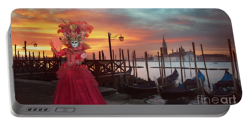Carnival Portable Battery Charger featuring the photograph Venice Carnival by Linda D Lester