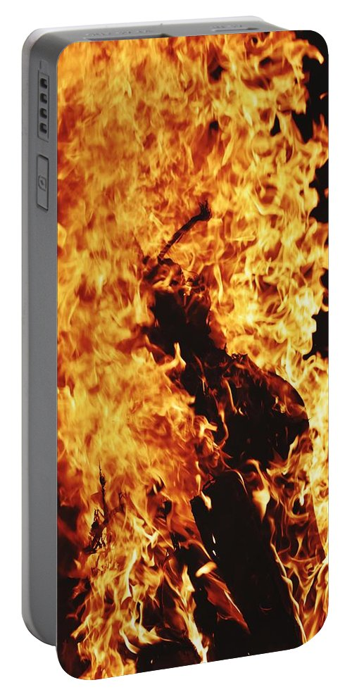Campfire Portable Battery Charger featuring the photograph Closeup of Fire at time of festival by Ravindra Kumar