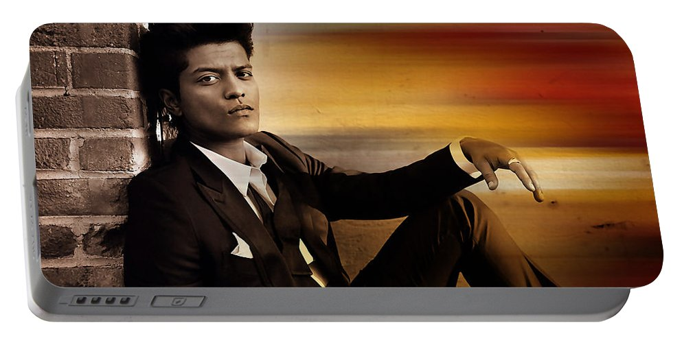 Bruno Mars Digital Art Mixed Media Portable Battery Charger featuring the mixed media Bruno Mars by Marvin Blaine