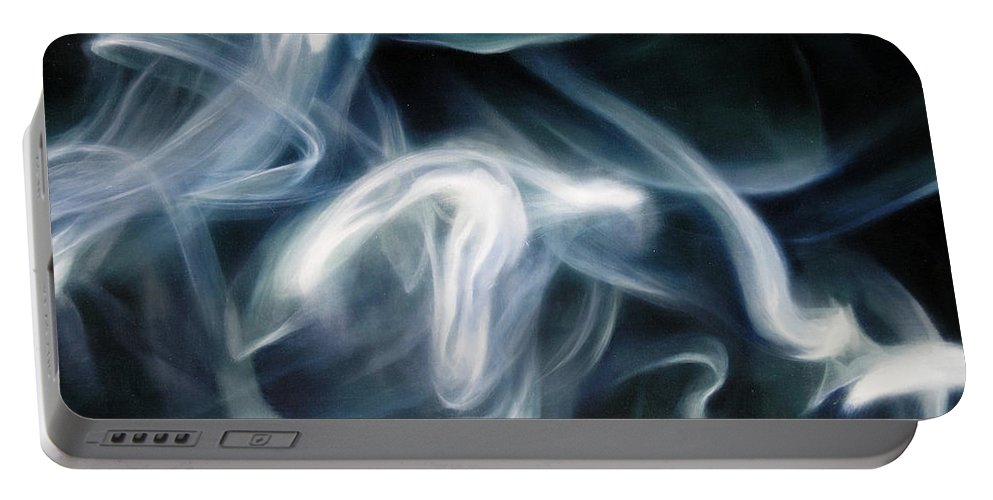 Blue Portable Battery Charger featuring the painting Blue Smoke by Thomas Darnell