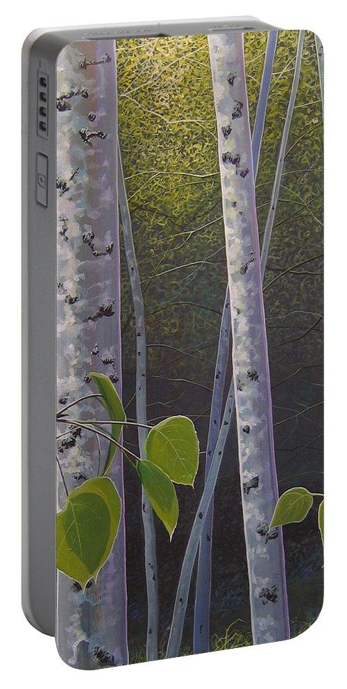 Aspen Portable Battery Charger featuring the painting Light in the Forest by Hunter Jay