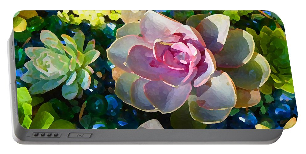 Succulent Portable Battery Charger featuring the painting Succulent Pond 1 by Amy Vangsgard