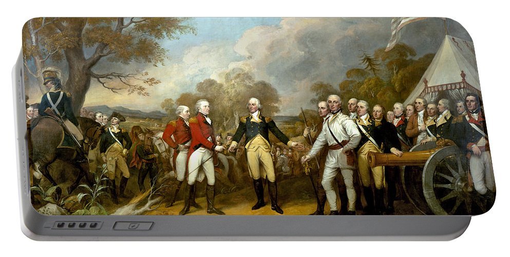 Revolutionary War Portable Battery Charger featuring the painting The Surrender of General Burgoyne by War Is Hell Store
