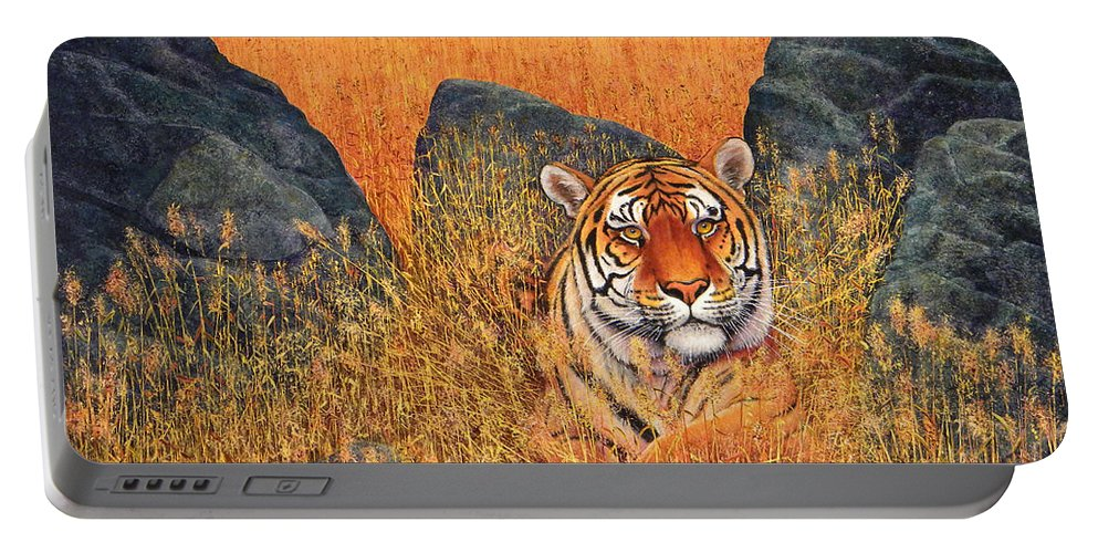 Tiger Portable Battery Charger featuring the painting Tiger At Rest by Frank Wilson