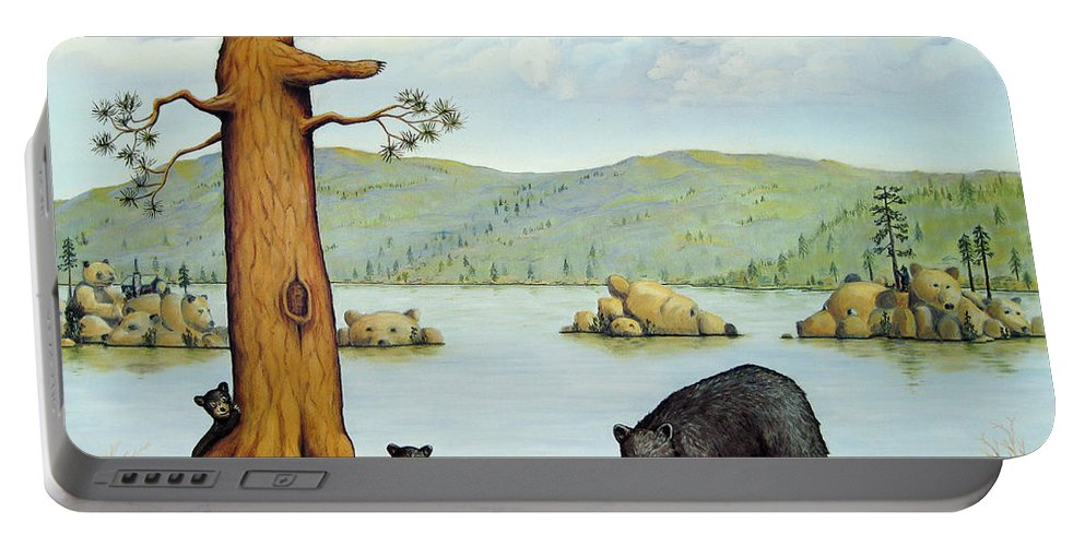 Bears Portable Battery Charger featuring the painting 27 Bears by Jerome Stumphauzer