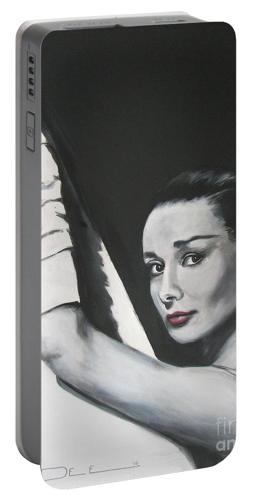 Audrey Hepburn Portable Battery Charger featuring the painting Audrey Hepburn by Eric Dee
