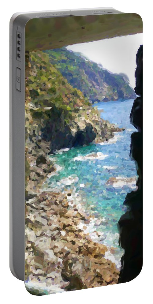 Cinque Terre Portable Battery Charger featuring the mixed media Cinque Terre by Asbjorn Lonvig