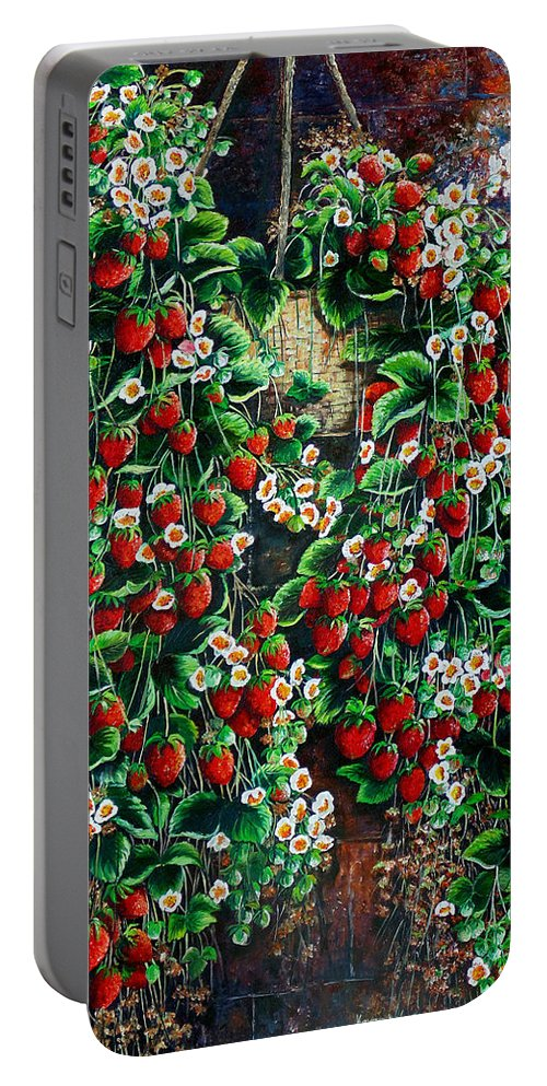 Fruit Painting Strawberry Painting Red Floral Painting Hanging Strawberry Basket Painting Botanical Painting Fruit Painting Portable Battery Charger featuring the painting A Berry Sweet Basket by Karin Dawn Kelshall- Best