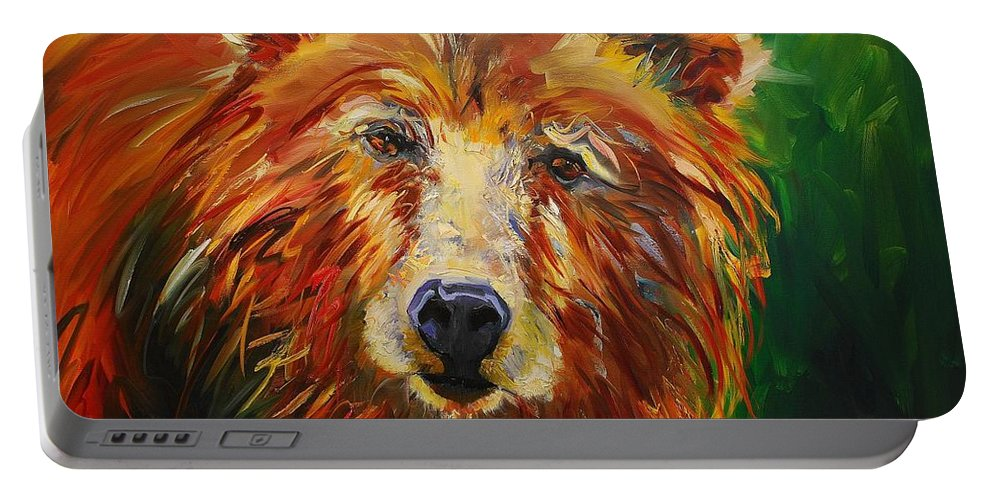 Bear Portable Battery Charger featuring the painting A Bunch Of Bear by Diane Whitehead