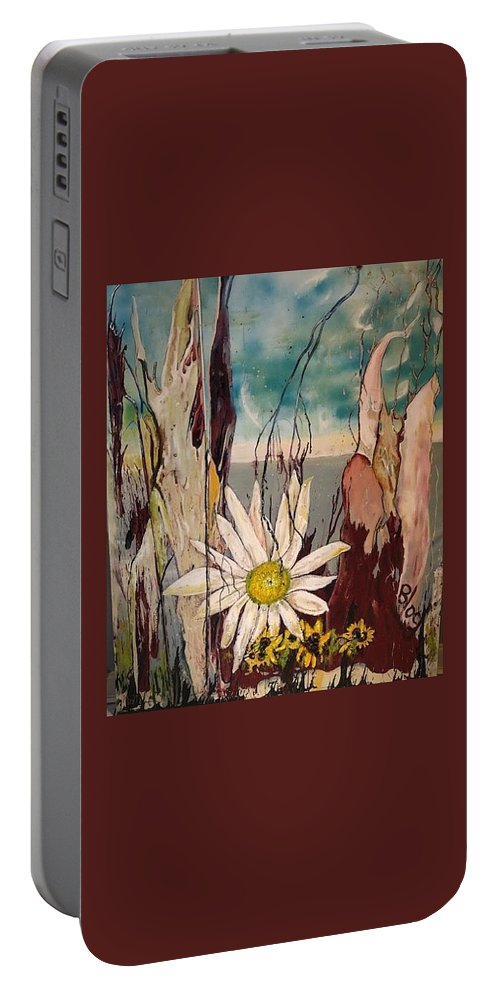 Trees Portable Battery Charger featuring the painting A Moment by Peggy Blood