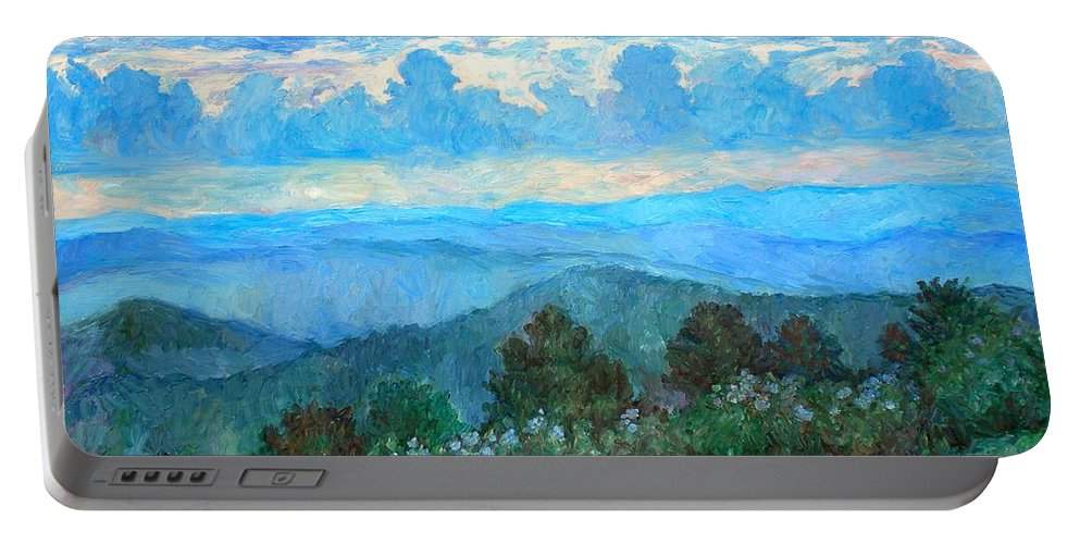 Landscape Portable Battery Charger featuring the painting A Path to Rock Castle Gorge in the Evening by Kendall Kessler