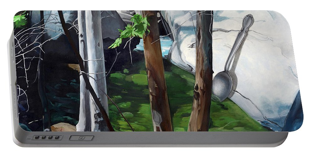 Landscape Portable Battery Charger featuring the painting A Taste of Nature by Snake Jagger
