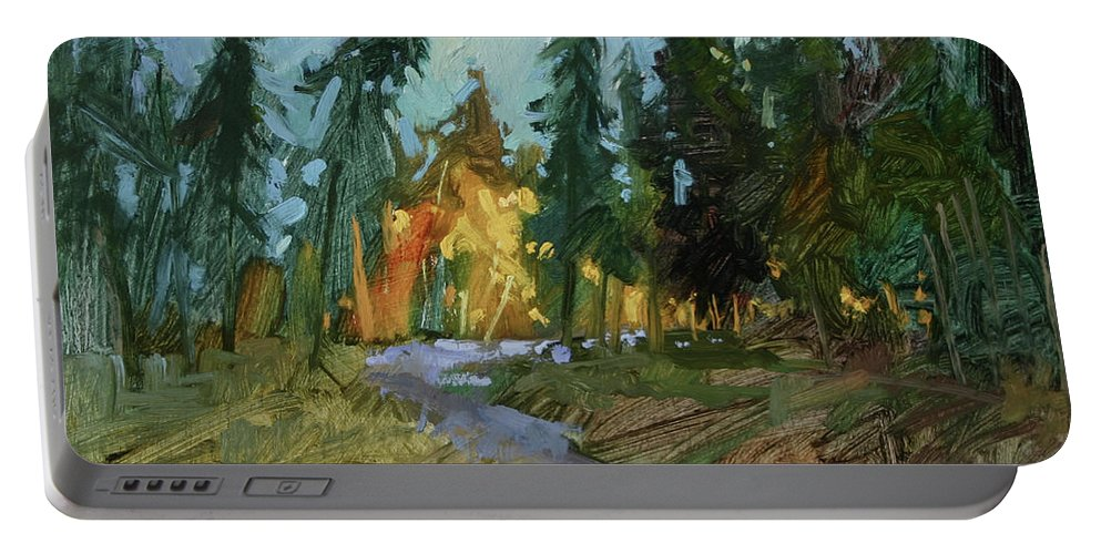 Paintings Of Woods Portable Battery Charger featuring the painting A Touch of Gold by Betty Jean Billups