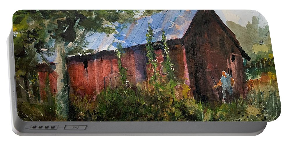 Rural. Barn Portable Battery Charger featuring the painting Abandoned at Aum Creek by Charles Rowland