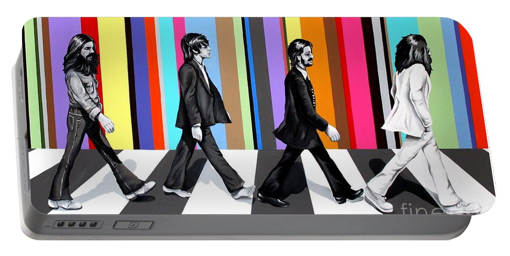 The Beatles Portable Battery Charger featuring the painting Abbey Road Technicolor by Amy Belonio
