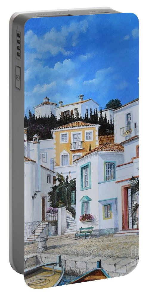 City Portable Battery Charger featuring the painting Afternoon Light In Montenegro by Sinisa Saratlic
